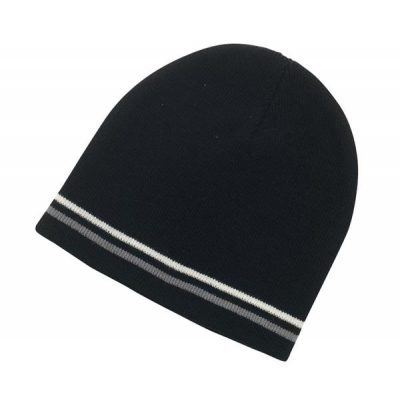 branded beanies double stripe acrylic
